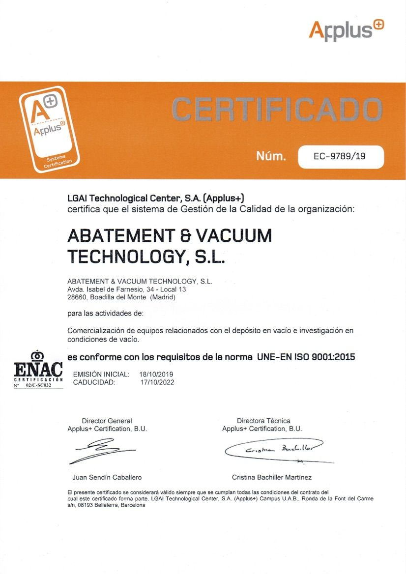 certificación ISO 9001: 2015, Avactec has now received ISO 9001:2015 certification